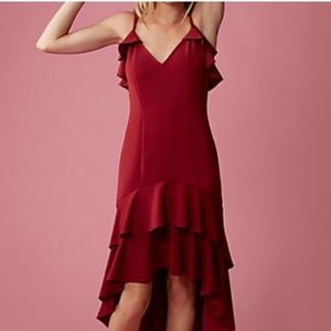 EXPRESS Red Ruffle High Low
